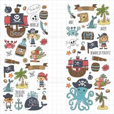 vector pirates children cartoon illustration kids drawing style