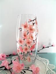 4x4 Glass Vase Sakura Glass Vase Hand Painted Vase Hand By Paintedglassbysveti