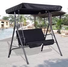 hammock bench costway garden metal swing chair patio swinging seat 2 3 seater
