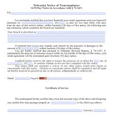 Terminate Lease Letter Free Nebraska 14 30 Day Notice To Comply Or Quit Non Compliance