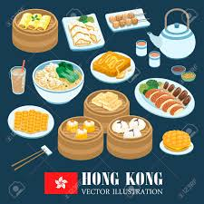 collection cuisine delicious hong kong cuisines collection in flat style royalty free