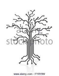 digital tree made of circuits conceptual illustration isolated on