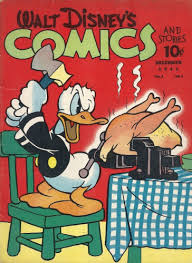 happy thanksgiving from donald duck a hatchet and a turkey in a