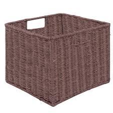 set of 3 cube wicker rattan storage baskets household storage