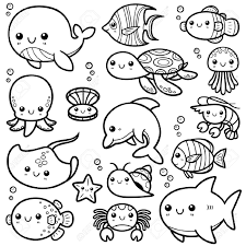 vector illustration of sea animals cartoon coloring book royalty