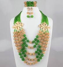 beads jewelry necklace images Amazing orange african coral beads jewelry set nigerian beads jpg