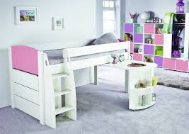 girls beds uk stompa unos mid sleeper bed frame with desk and chest of drawers