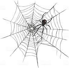 vector black widow spider on spiders web stock vector art