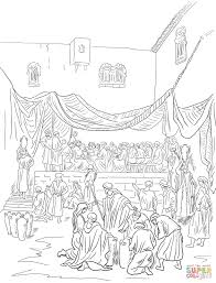the marriage feast at cana coloring page free printable coloring
