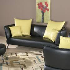 Leather Sofa Cushions Interior Amazing Living Room Design Feature Cool Black Leather