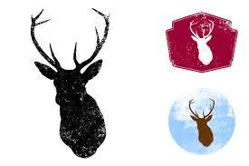 textured deer head vector by offset on creative market cute