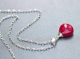 silver necklace ruby images Red pink ruby pendant in silver small gemstone july birthstone jpg
