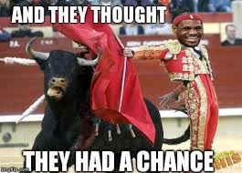 Chicago Bulls Memes - lebron james defeat a bull meme sports unbiased