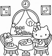 kitty reading mail coloring cartoon coloring pages