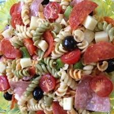 this pasta salad made with provolone salami pepperoni bell