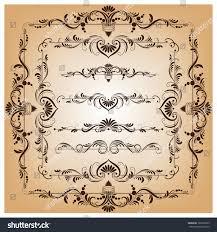 set vector frames borders design filigree stock vector 185610065