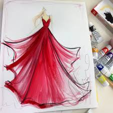 sketch of the day red chiffon gown sketch prints and originals