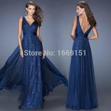 blue sequin bridesmaid dress chagne navy blue chiffon a line v neck prom dresses 2015