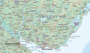 Map Of Uruguay Uruguay Digital Vector Political Road U0026 Rail Map With Land And