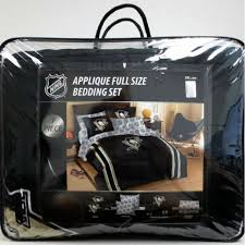 Steelers Bedding Pittsburgh Penguins Nhl Applique Full Size 7 Piece Bedding Set