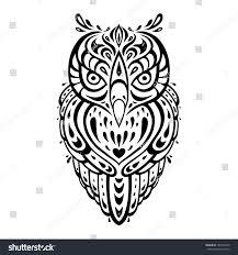tribal owl tattoo owl tribal pattern polynesian tattoo vector stock vector 187645370