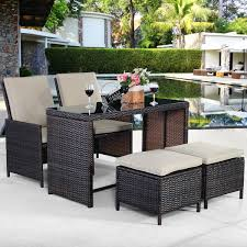 wicker dining room chairs 5 pcs brown patio cushioned rattan dining table chair set