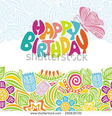 happy birthday greeting card beautiful flowers stock vector