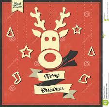 merry christmas vintage reindeer greeting card stock vector