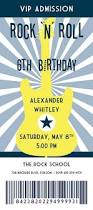 rock u0027n u0027 roll birthday party concert ticket invitation guitar in