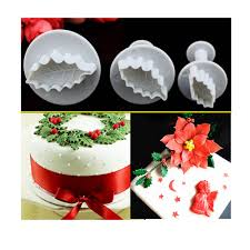 Christmas Cake Decorations Icing by Aliexpress Com Buy 3pcs Set Christmas Rose Leaf Cake Icing
