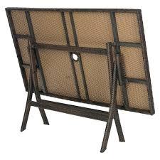 folding patio dining table asinara rectangle wicker folding patio dining table brown