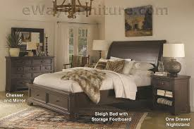 Sleigh Bed With Drawers Aspenhome Bayfield Solid Wood Storage Sleigh Bed Bedroom Set