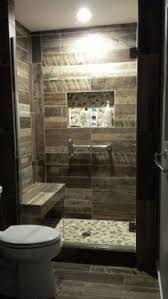 sliced red pebble tile woodwork rustic bathrooms and walls