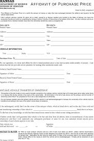 Kansas Vehicle Bill Of Sale Pdf by Download Kansas Affidavit Of Purchase Price Form For Free Formxls