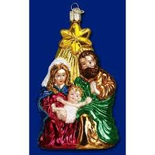 merck family world glass ornament holy family