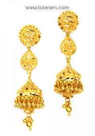 gold jhumka earrings design with price 22k gold jhumkas gold dangle earrings 235 gjh1280 in 11 600 grams