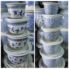 blue and white fish bowl and planter jingdezhen shengjiang