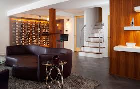 inside a modern remodeled basement that doubles as a wine cellar