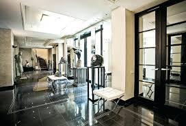 stock photo white art deco hall with black and floor tilesart