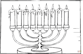 hanukkah candles colors eight brached menorah with burning candles coloring page free