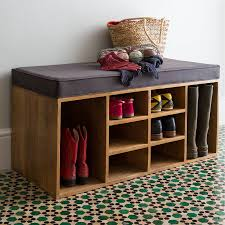 charming rectangle espresso wood entryway shoe storage bench