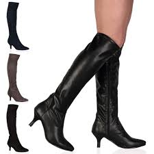 womens knee boots uk knee length fitted autumn womens kitten heel zip boots