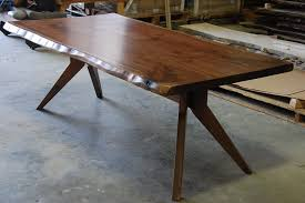 trestle base dining table hand made live edge slab dining table with modern trestle base by