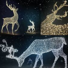 Lighted Deer Lawn Ornaments by Outdoor Lighted Christmas Sculpture Lights Reindeer Moose Led For