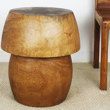 Natural Wood Furniture by End Table Mango Wood Furniture Mushroom Shape With Storage
