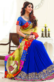 buy royal blue georgette u0026 net combo stone worked saree in yellow