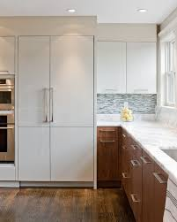 white kitchen cabinets on top and wood on bottom u003d another option