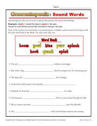 onomatopoeia sound words figurative language worksheets