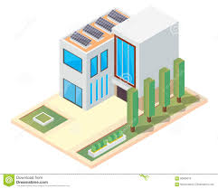 eco friendly house modern luxury isometric green eco friendly house with solar panel