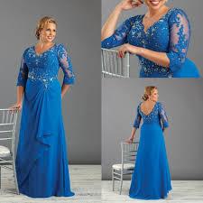 royal blue long mother of the bride dresses plus size chiffon lace